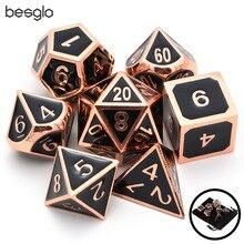 Набор цельных Металлических Кубиков блестящая медь с черной эмалью отлично подходит для ролевых игр DnD настольные игры