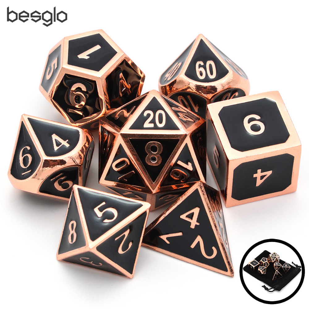 Set of Solid Metal Dice Shiny Copper with Black Enamel Great for Role Playing Games DnD Board Games image