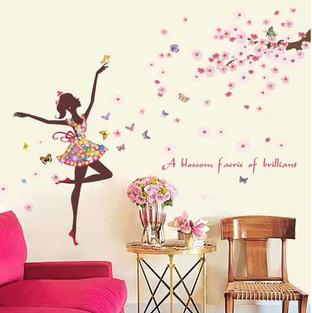 Romantic Flower Fairy Girl Bedroom Wall Stickers Modern Scandinavian Style  Stickers Background Wall Decorative CC-