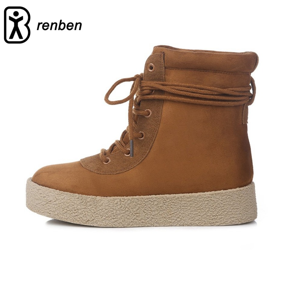 Renben Women's Martin Boots Female Short Shoes Retro Vintage British Style High Upper Thicken Velvet Plush Winter Warm invierno