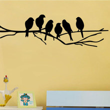 New Black Birds on the Tree Branch Wall Sticker for Living Room Wall Decals for Art Stickers Home Decoration Murals Removable(China)