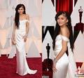 2015 87th Oscar Awards branco fora do ombro De cetim Zip voltar Robe De alta qualidade vestidos celebridade