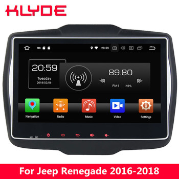 """KLYDE 10.1"""" IPS 4G Android 8.0 Octa Core 4GB RAM 32GB ROM BT FM Car DVD Multimedia Player Radio For Jeep Renegade 2016 2017 2018"""