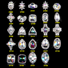 100Pcs 3D Womens Rhinestone Alloy Nail Art Stickers Tips Decoration AB New Crystal Oval Diamond Glitter