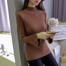 Speaker sleeve half-high sweater  Woman pattern knitted sweater  high quality winter warm sweater Multi-color selection