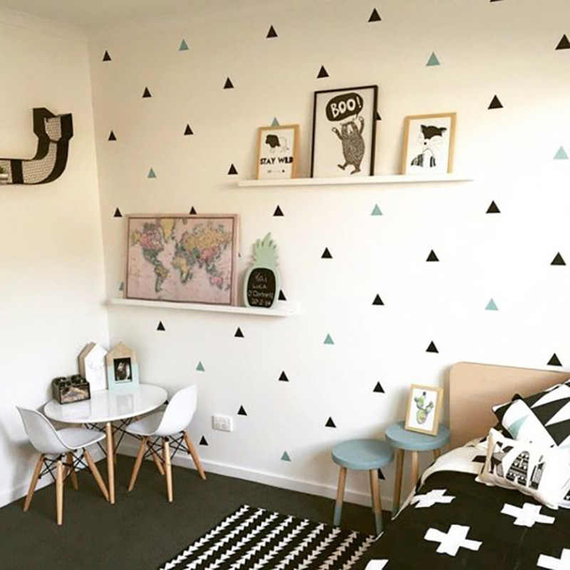 Baby Boy Room Triangles Kids Bedroom Wall Decor Baby Girl Room Wall Sticker  For Kids Room Home Decor Childrens Bedroom Wallpaper