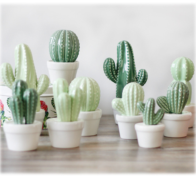 LM923 Home Ceramic Cactus Bud Vase Succulent Table Decoration Modern  Wedding Centerpiece Event U0026 Venue Decor