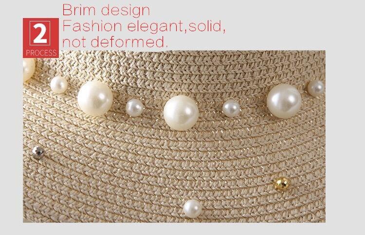 chapeau de paille à bords plats style britannique perle