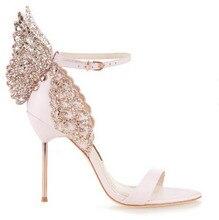 Marke gleichen design 2017 Neue frauen 10 cm high heels sexy sandalen strass stereoscopic schmetterling partei schuhe frau sommer shose