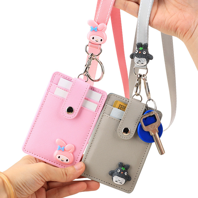 1 Pc New Name Credit Card Holders Unisex Pu Bank Card Neck Strap Card Bus Id Holder Students Kids Identity Badge With Lanyard