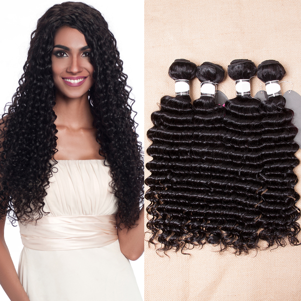 Malaysian Deep Wave 4 Bundles Sleek Vendors 10 To 28 Inch Deals Curly Wet And Wavy Remy Human Hair Extentions Grade 8a Bundles ...