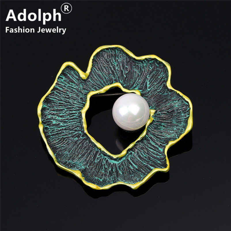 ADOLPH Jewelry Vintage Irregular Simulated Pearl Brooch Pins For Woman Clothers Dress Bride Broochs Fashion Accessories Female