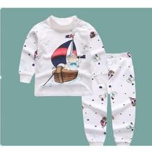 Одежда для новорожденных хлопковая одежда с длинными рукавами для младенцев топ+ штаны, 2 предмета, одежда для маленьких мальчиков и девочек с героями мультфильмов унисекс, Прямая поставка, E0071