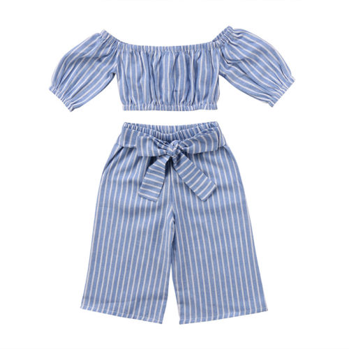 Baby Kid Girls Clothing Set Off shoulder Tops T-shirt Short Sleeve Loose Stripe Bowknot Pants Striped Clothing Outfits цена