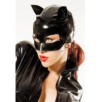 2017 Cute exotic New black unisex handmade Women Latex Catsuit Costume Sexy half face unisex Hoods Open face hat Mask