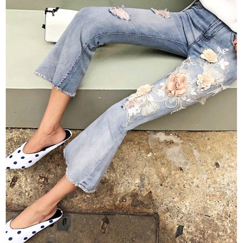 De Vaqueros Rasgado Calle Mujer 2018 Calf Alta La Slim Agujero Azul Flor Cintura Bordado Flare Denim Blue Pantalones length Pantalones Light Medio qpHptx6w
