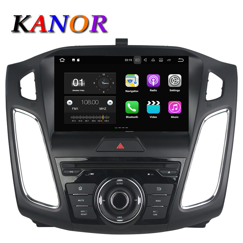 KANOR 9inch IPS Quad Core Android 7.1.2 Radio GPS For Ford Focus 2015 2016 Car DVD Video Player GPS Bluetooth WIFI