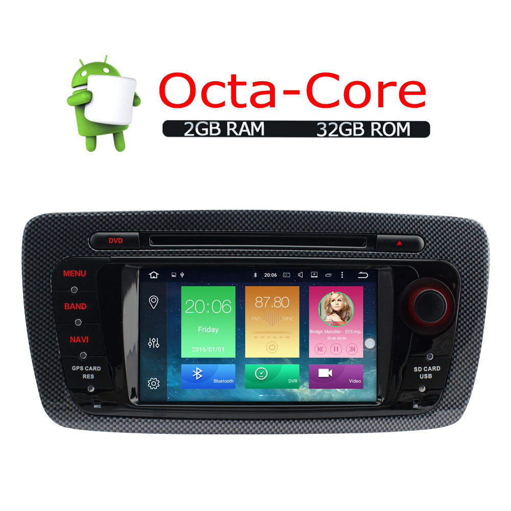a sure android 6 0 car radio player gps for seat ibiza. Black Bedroom Furniture Sets. Home Design Ideas