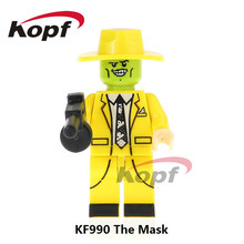 Single Sale Super Heroes The Mask In Yellow Magical Comedy Movie TV Cahracter Building Blocks Education Toys for children KF990 single sale super heroes yondu movie series voltron team godmars black blue 1pc building blocks education for kids toys 8styles