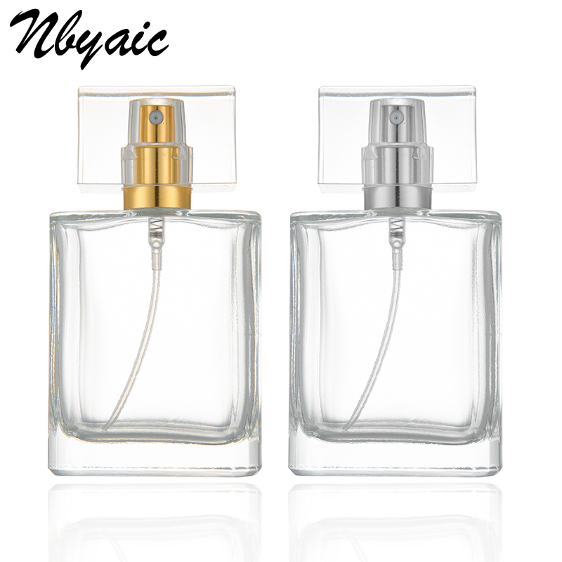 1Pcs 50ml perfume bottle Glass Refillable Perfume Bottle With Metal Spray &Empty Packaging Caseglass perfume bottles with spray 10ml spray glass empty bottles 50pcs cylindrical perfume bottle cosmetic packaging container