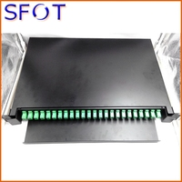 Optical cable termination box, drawer type, 19'', 24 ports, 1U, can be full with SC/LC adaptors and pigtails