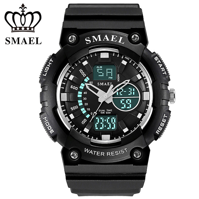 Fashion Sports Watches Military Waterproof Dual Time Analog Quartz Digital Watch Male Clock Dive Wristwatches relogios WS1539
