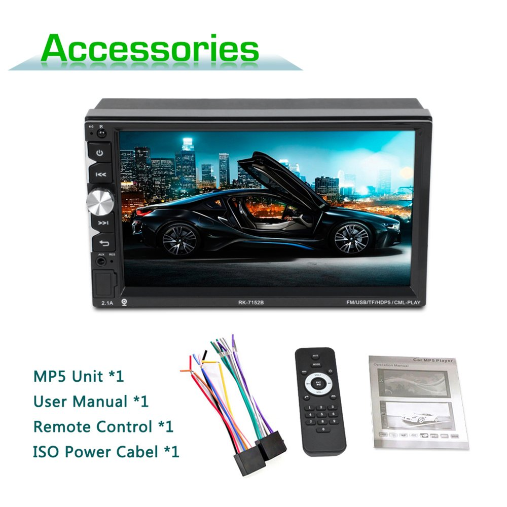 7152 7 Inch Full HD 1080P Bluetooth Free Hand Call Car MP5 Player Touch Screen Display with Seven Color Backlight