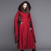 Стимпанк осень зима Для женщин в готическом стиле с капюшоном длинные пальто в стиле панк одежда с длинным рукавом Теплые ботфорты Пальто д