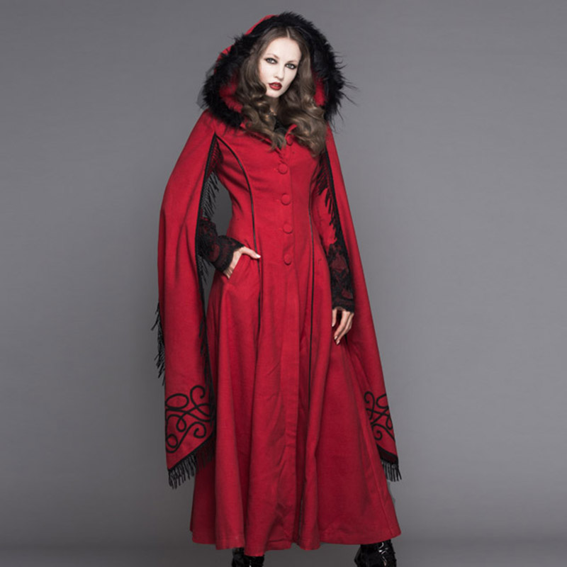 Steampunk Autumn Winter Women Gothic Hooded Long Coats Punk Long Sleeves Warm Overcoats with Tassels Casual Windbreakers