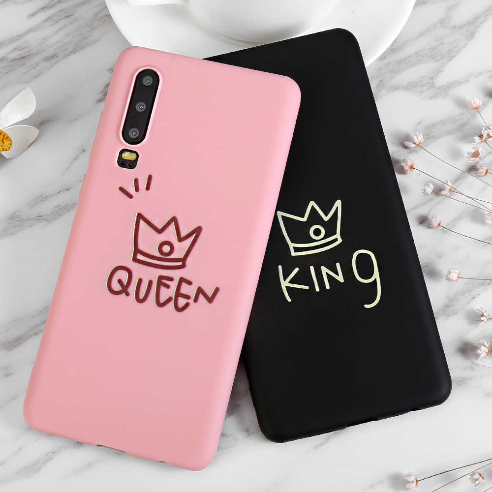 Carton Couple King Queen Case For Samsung Galaxy S8 S9 S10 Plus 5G S10e A50 A30 A70 A7 A6 J6 A8 Plus 2018 Note 8 9 M30 M20 Cases