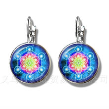 Bestselling Wiccan Locket Stud Earrings Trendy Pentacle Wicca Glass Cabochon Locket Pendant Occult Charms Jewelry(China)