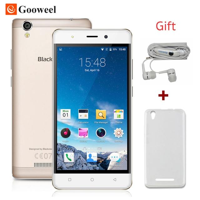 Caso libre mtk6580 blackview a8 smartphone 5.0 pulgadas ips hd quad core Android 5.1 Teléfono Móvil 1 GB RAM 8 GB ROM 8MP 3G GPS