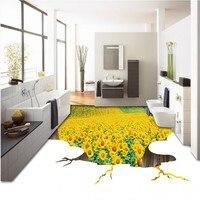 Free Shipping Custom 3d Floor Outdoor Vegetable Oil Flower Background Wall Mural Anti Skidding Bathroom Living