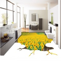 Free Shipping Custom 3d Floor Outdoor Vegetable Oil Flower Background Wall Mural Anti Skidding Bathroom Living