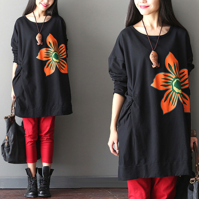 Big flower patchwork plus size outerwear pumping batwing sleeve sweatshirt 4