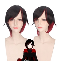 Rwby red Remolques Cosplay peluca para las mujeres corto recto resistente al calor Pelo sintético peluca anime Costume party negro gradiente de color rojo