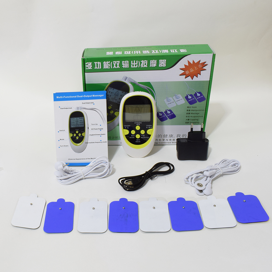 LCD Dual Output Electronic Pulse Meridian Massager Muscle Relax Stimulator Electrotherapy Pain Relief + 8 Pads