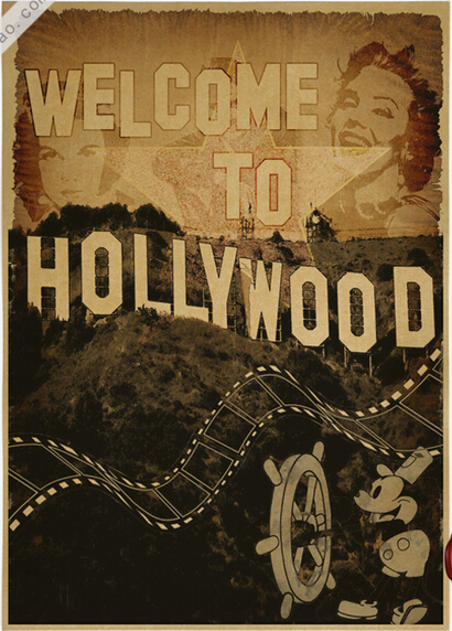 Vintage Welcome To Hollywood Poster Retro Art Wall Home Decoration 30X42CM BM 401