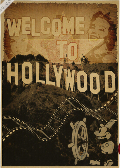 Vintage Welcome To Hollywood Poster Retro Art Wall Home Decoration Simple Hollywood Sign Decoration