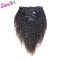 Brazilian Kinky Straight Hair Clip In Human Hair Extensions Remy Hair Natural Coarse Yaki 8 Pcs/Set 120g Full Head SalonChat