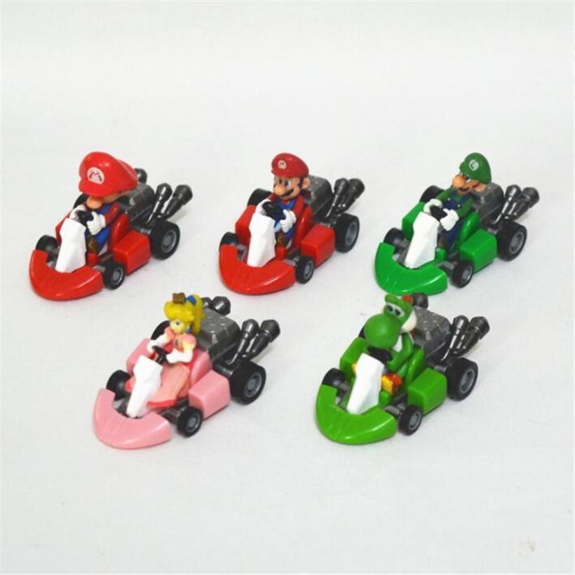 Hot Toys 5 Pcs/Set Super Mario Bros Pull Back Kart Racer Car Anime Mario PVC Action Figure Model Toys For Children