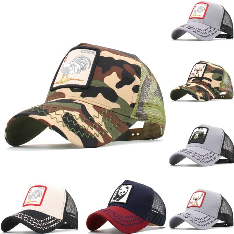 Caps Trucker Baseball-Cap Mesh Plain-Hat Animal-Pattern Adjustable Sport Camo Unisex