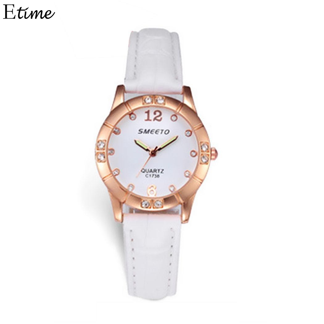 Women Watches Casual Crystal Women Watch Round Dial Quartz Leather Band Wristwatch Watch Ladies Clock reloj relogio feminino