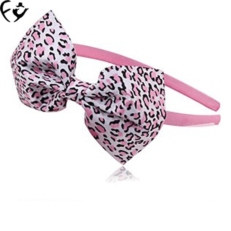 Новый Leopard ткань повязка на голову с бантом украшения ручной работы детей