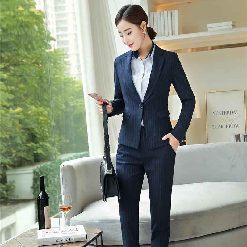 Bureau Pantalons Bleu Blazer Marine 2019 Femmes Noir Travail Dames Élégante Styles Formelle Ol Costumes Veste D'affaires marine De Ensembles Uniforme Vêtements qwZF8
