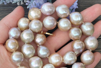 Jewelr 005428 16~12MM natural Purple Edison Nucleated Flameball Baroque Pearl Necklace