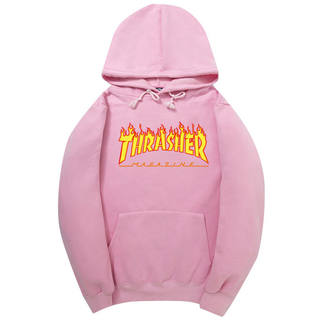 2017 High Quality Mens Thrasher Sweatshirt Hoodies Men Pink trasher Skateboards Hoodie Male Cotton Sweat Thrasher Sweatshirt Hoo