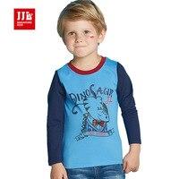 Cartoon peuter jongens t-shirts lange mouwen kinderen t-shirts animal print kids kleding o hals 100% katoen kinderen shirts size 4-11 t