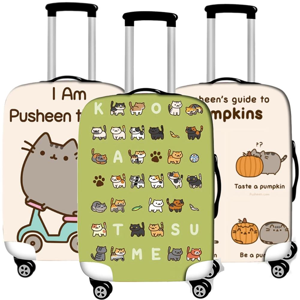 Cartoon Cat Animal Luggage Case Protective Cover Elastic Travel  Suitcases Dust Cover Accessories Organizadores 18 To 32 Inches