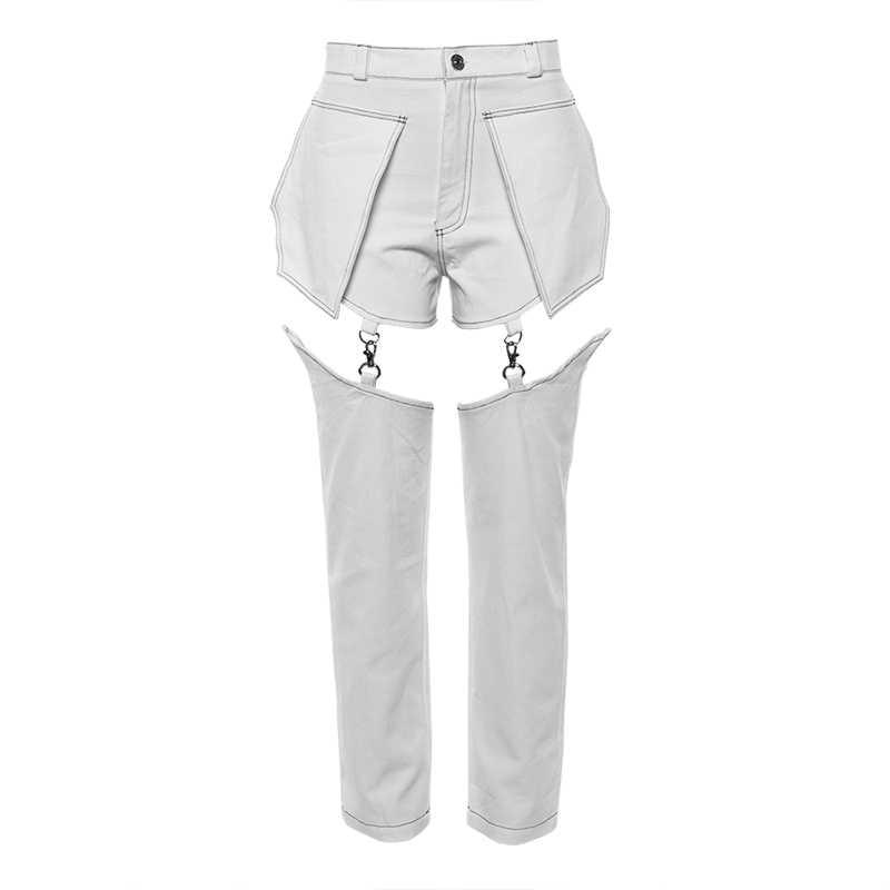 GETSRING женские джинсы с высокой талией джинсовые брюки Съемные женские черные Джинсы Нерегулярные Джинсы женские длинные джинсовые брюки 2019